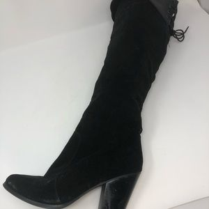 Chase and Chole Black Velvet Over the Knee Boots